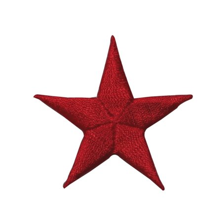 Embroidered Emblems - ID 3557 Red Star Patch Night Sky Craft Emblem Embroidered Iron On Applique