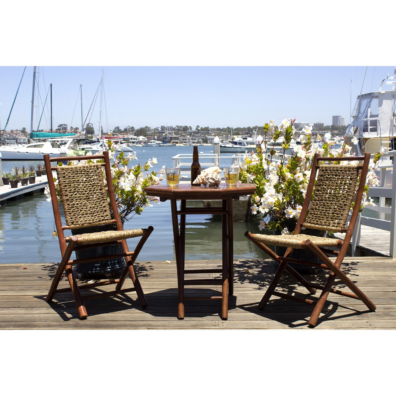 Heather Ann Creations Maui Bamboo Bistro Set