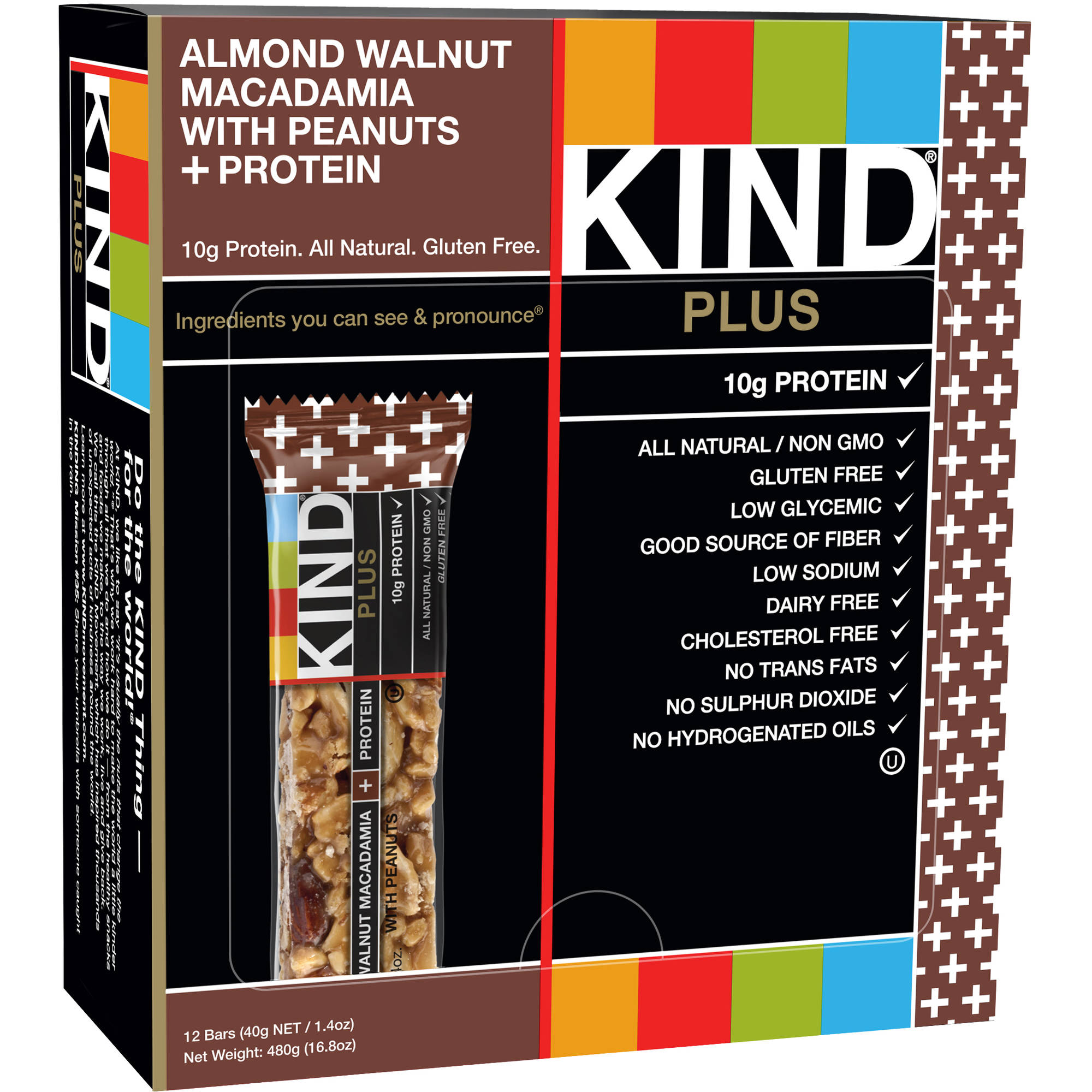 KIND Plus Bars, Almond Walnut Macadamia with Peanuts   Protein, 1.4 oz, 12 Count