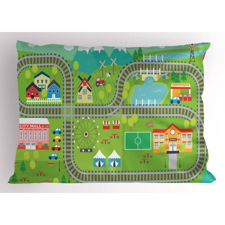 Kid's Activity Pillow Sham Train Tracks with Colorful Town School City Mall and Amusement Park Fair, Decorative Standard Queen Size Printed Pillowcase, 30 X 20 Inches, Multicolor, by (U Town Mall)