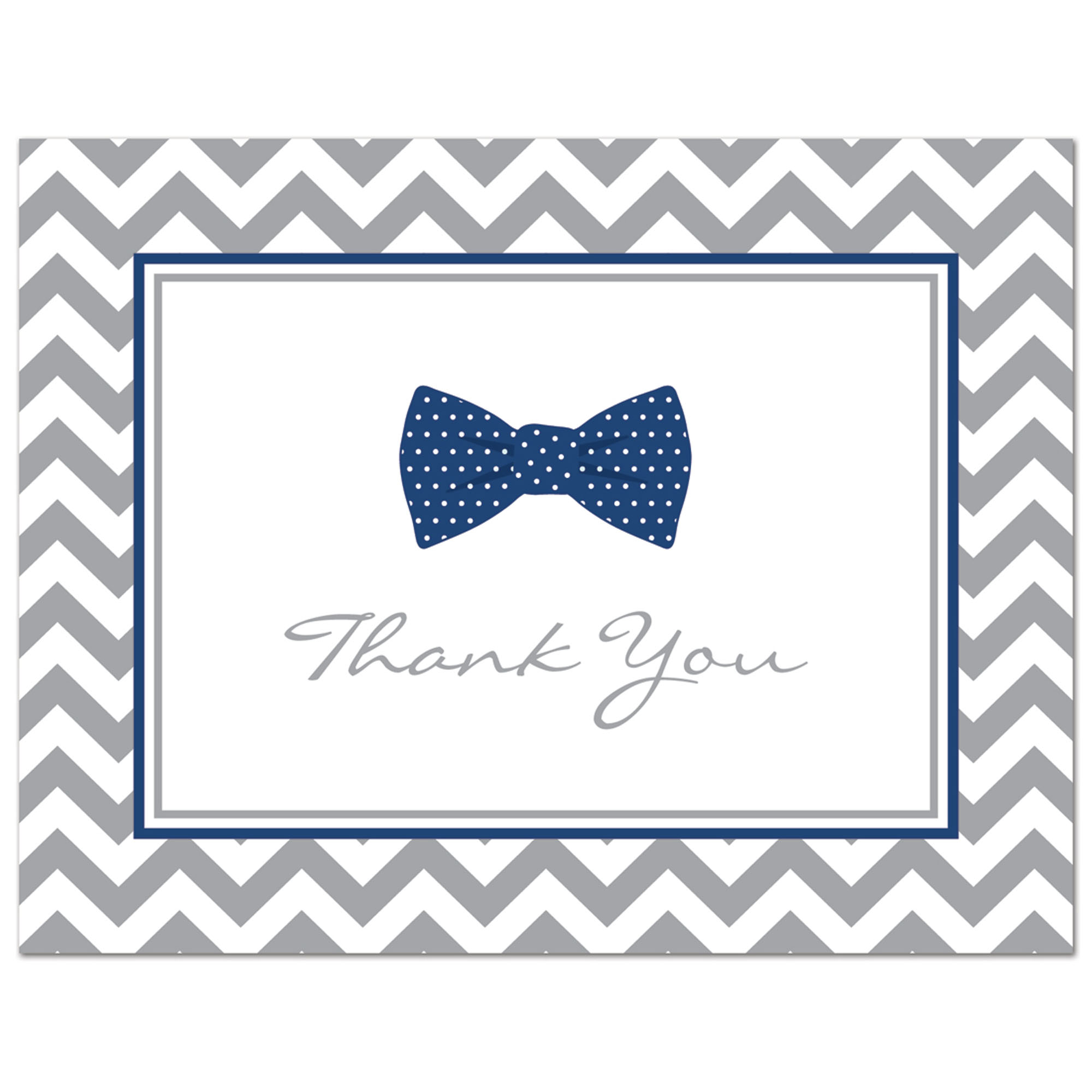Navy Bow Tie- Baby Shower Thank You Cards and Envelopes - 50 count
