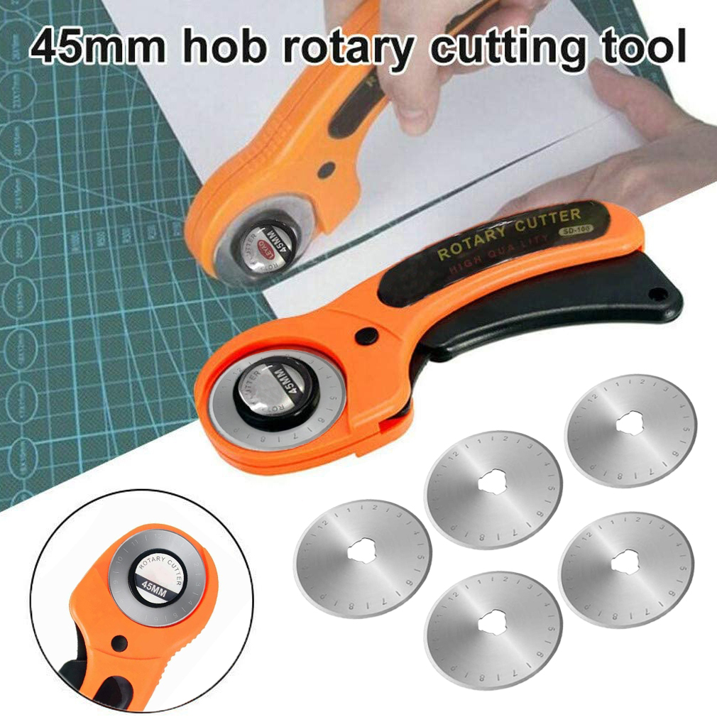 45mm Rotary Cutter with 5pcs Blades For Sewing Quilting Fabric and Arts /& Crafts