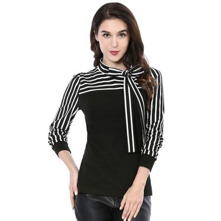 Stripe Tunic Top Shirt - Women's Self Tie Collar Striped Sleeves Autumn Shirt Top Tunic Blouse