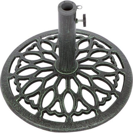 Cast Iron Umbrella Base -17.5 Inch Diameter by Trademark Innovations (Green) ()