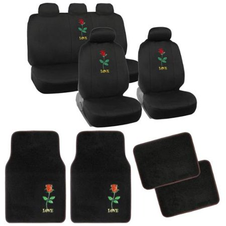 BDK Rose Car Seat Covers And Floor Mats Set