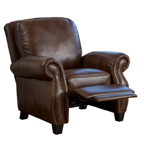Denise Austin Home Jasmine Two-Tone Leather Recliner Club Chair by GDF Studio