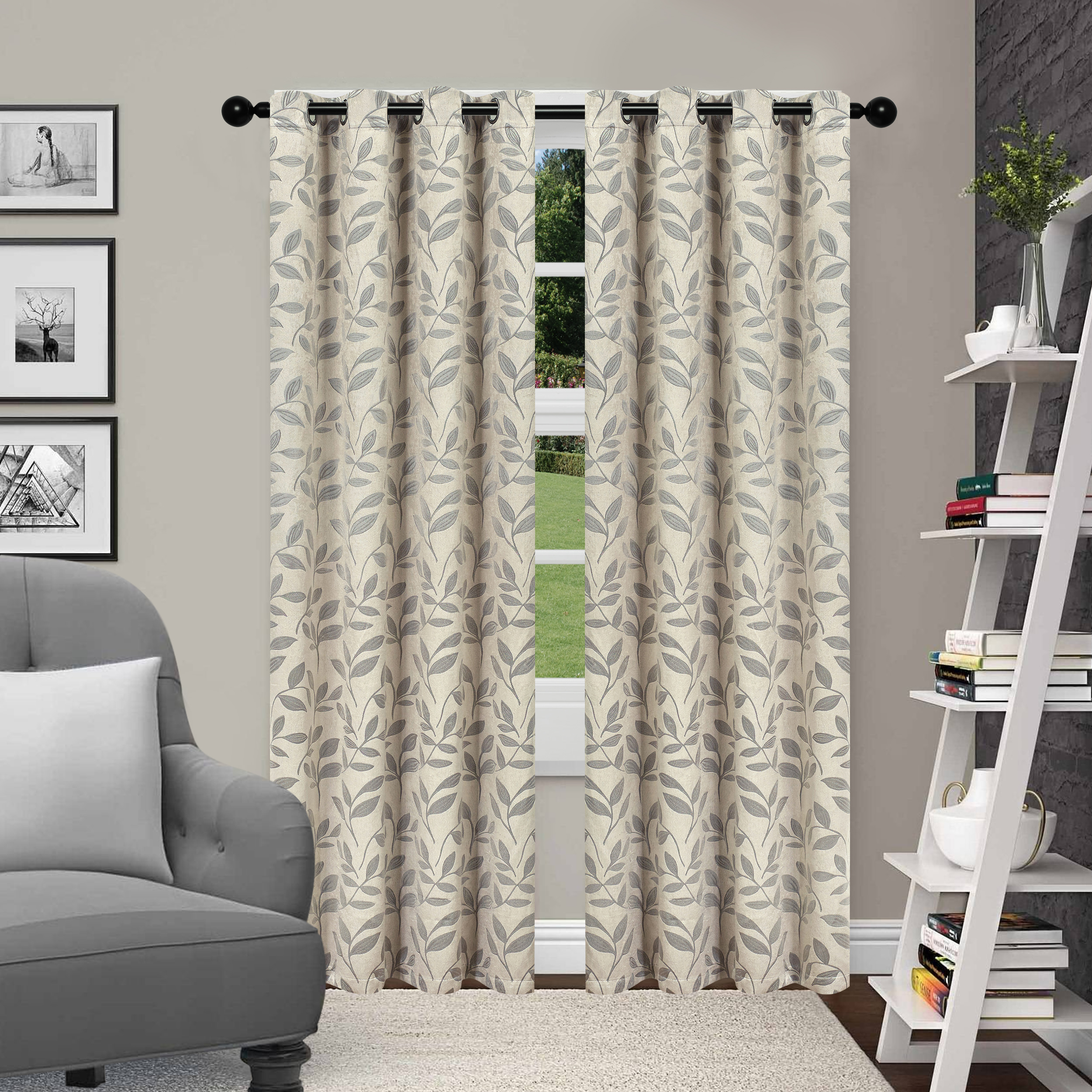 Superior Leaves Textured Blackout Curtain Set of 2 with Grommet Top Header