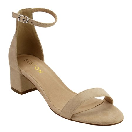 Beston De13 Womens Single Band Buckle Strap Block Heel Dress Heel Ankle Sandals