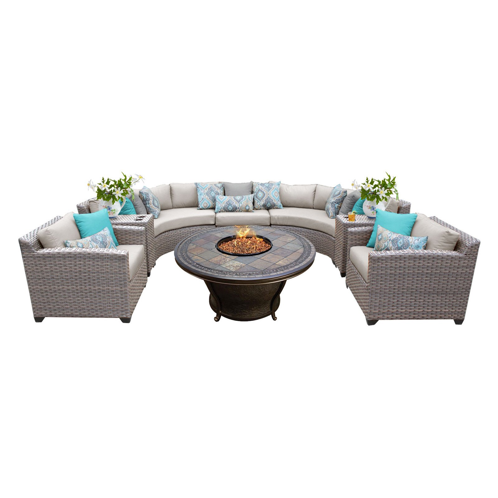 TK Classics Florence Wicker Sectional Set with Tempe Fire Pit Table