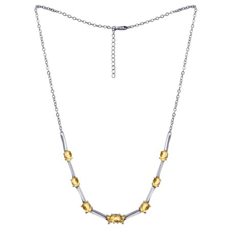 - 7.7 Carat Citrine Oval Cut & Round Cut November Birthstone Link Necklace 925 Sterling Silver  Necklace for Women by Orchid Jewelry