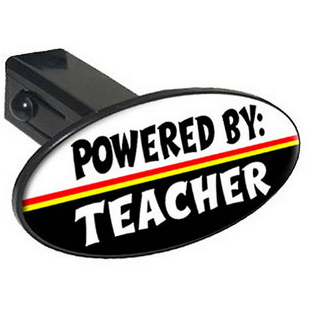 """Powered By Teacher 1.25"""" Oval Tow Trailer Hitch Cover Plug Insert"""