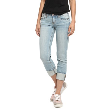 TheMogan Women's Stone Washed Low Rise Denim Capris Crop Skinny Jeans Light