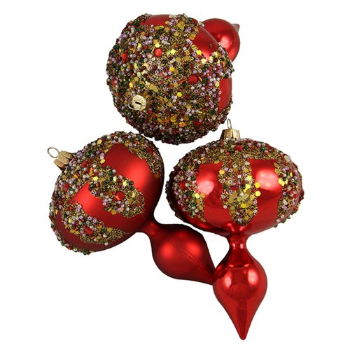 Northlight Seasonal Glitter Sequin Beaded Shatterproof Christmas Finial Ornament (Set of 3)