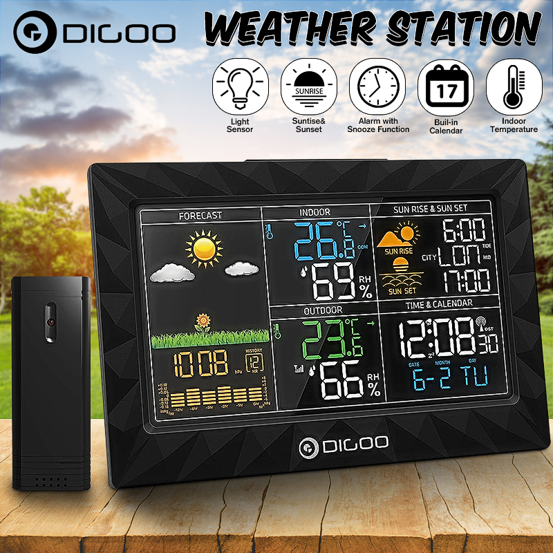 DIGOO Super Thin Wireless Weather Station with Outdoor Sensor,HD LCD Color Screen Body Geometric Design For... by