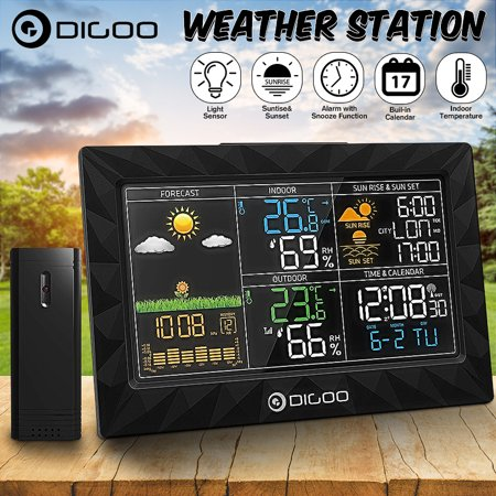 - DIGOO Super Thin Wireless Weather Station with Outdoor Sensor,HD LCD Color Screen Body Geometric Design For Rain Temperature Humidity Barometer Moon Phase Remote Sensor