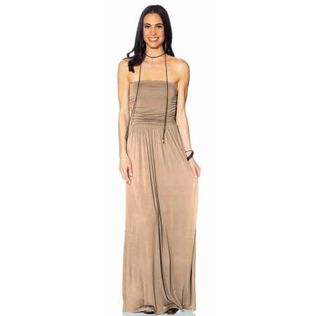 bc3654561ce Hot From Hollywood - Womens Strapless Tube Top Ruched Fit and Flare Casual  Maxi Dress with Pockets - Walmart.com