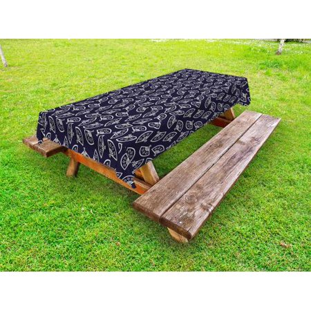 Geometric Outdoor Tablecloth, Hand Fan Pattern East Asia Culture Inspirations Oriental Motif Kimono Design, Decorative Washable Fabric Picnic Tablecloth, 58 X 104 Inches, Dark Blue Cream, by Ambesonne - Amscan Tablecloths