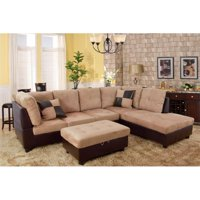 Lifestyle Furniture LF103B Siano Right Hand Facing Sectional Sofa, Sand - 35 x 103.5 x 74.5 in.