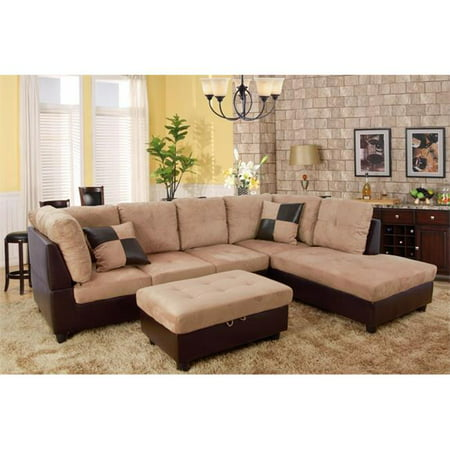 Lifestyle Furniture LF103B Siano Right Hand Facing Sectional Sofa, Sand - 35 x 103.5 x 74.5 in. ()