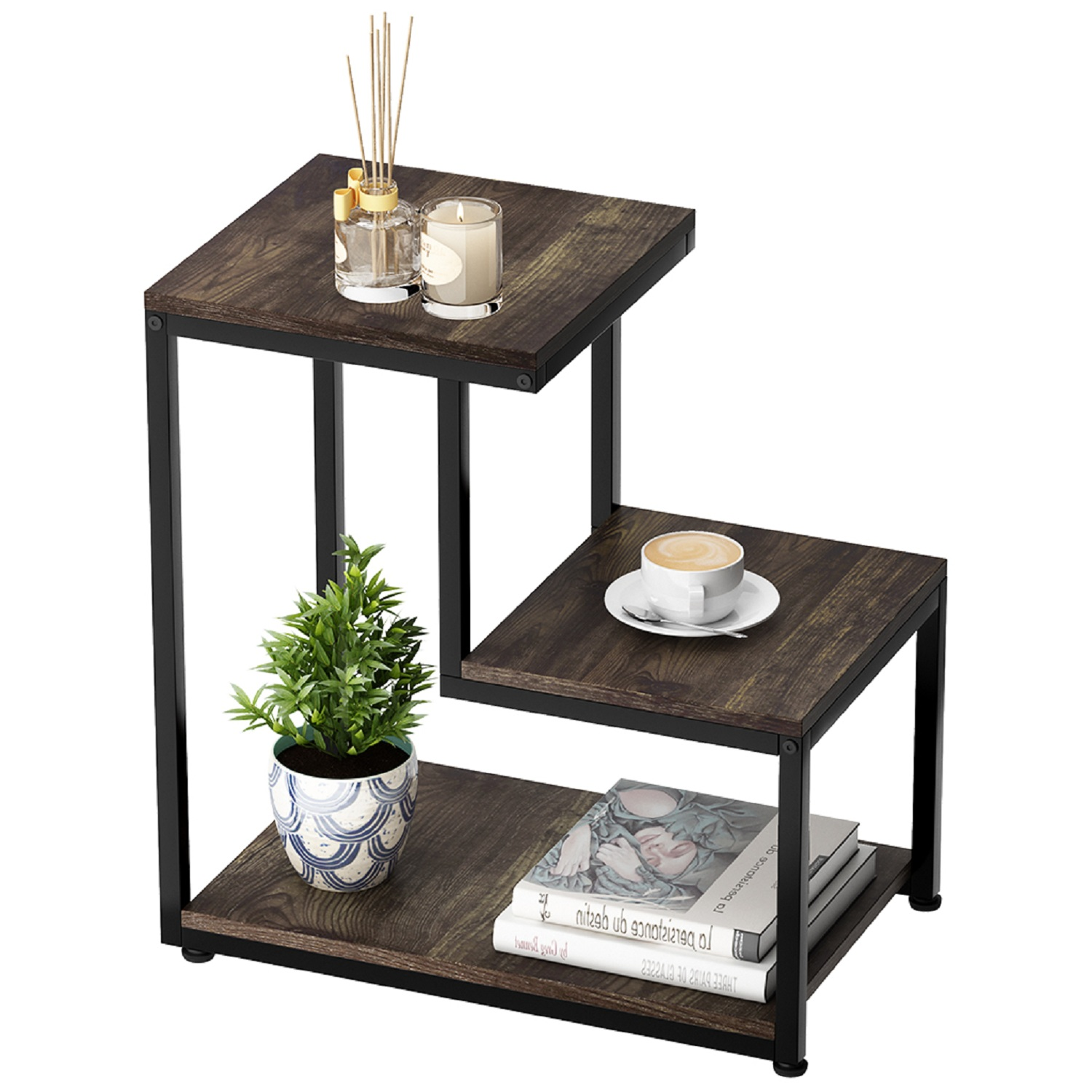 3 Size Simple Style Iron Double Sofa Accent Table End Table Wood Grain NEW