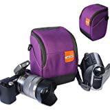 First2savvv high quality anti shock purple Nylon camcorder case bag for SONY DCR SR57E ()