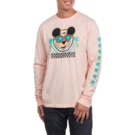 Disney Character Clothes (Disney Mickey Mouse Men's Long Sleeve Palm Tree Graphic Tee, Up to size)