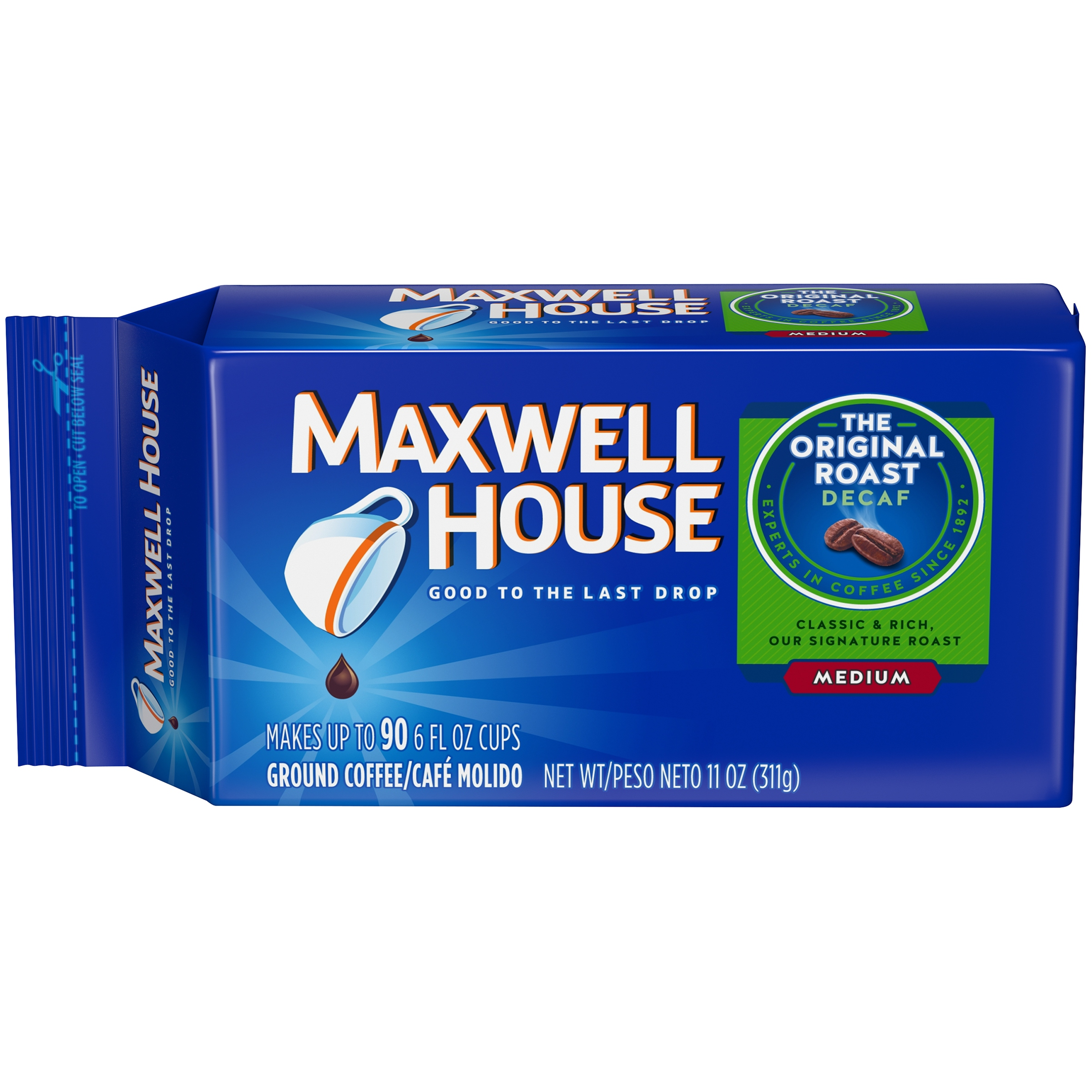 Maxwell House Original Roast Decaf Medium Ground Coffee 11 oz. Brick