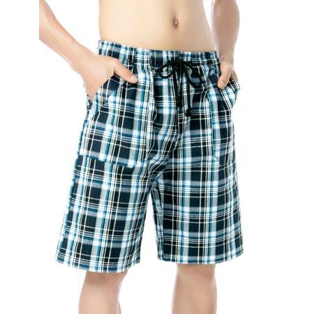 Ezekiel Walking Shorts - SAYFUT Mens Big and Tall Lounge Ciel Plaid Pyjama Short Casual Plaid Shorts Walking Shorts Elastic Waist Drawstrings