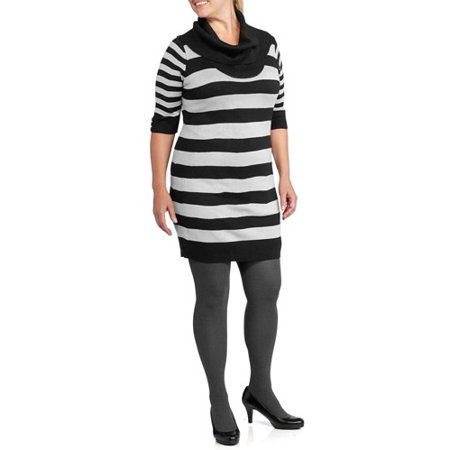 004dcbe2fb ONLINE - Women s Plus-Size Striped Cowl Sweater Dress - Walmart.com