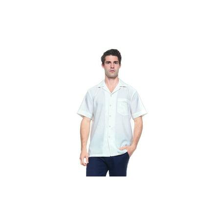 Small Dress Shirts (Mojito Men's Guayabera Cuban Beach Wedding Short Sleeve Button Up Casual Dress Embroidered Shirt White)