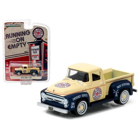 Gasoline Truck (1956 Ford F-100 Red Crown Gasoline Pickup Truck 1/64 Diecast Model Car by Greenlight)
