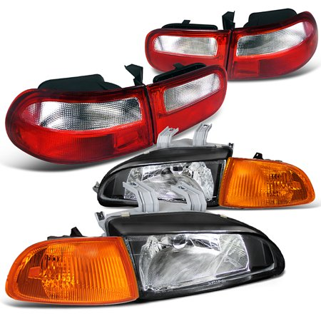 Spec-D Tuning 1992-1995 Honda Civic 3Dr Hatchback Si Cx Dx Black Housing Headlights + Red&Clear Tail Lamps (Left + Right) 92 93 94 95