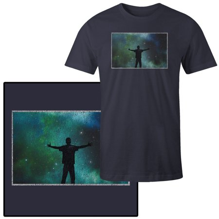 Men's Man Standing Silhouetted Against Universe Of Stars And Nebula (Silhouetted Against Snow)
