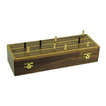 Classic Hinged Wood Cribbage Board with 9 Pegs Included
