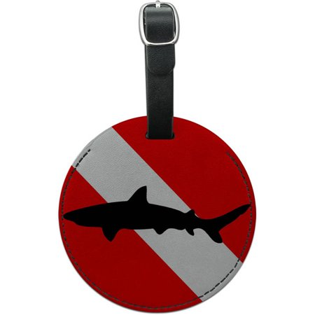 Diving Flag Scuba Diver Dive Shark Round Leather Luggage ID Tag (Flag Luggage Tag)