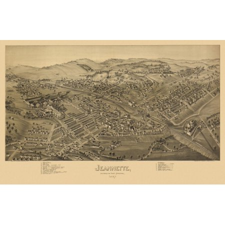 Antique Map of Jeannette Pennsylvania 1897 Westmoreland County Canvas Art - (24 x 36)