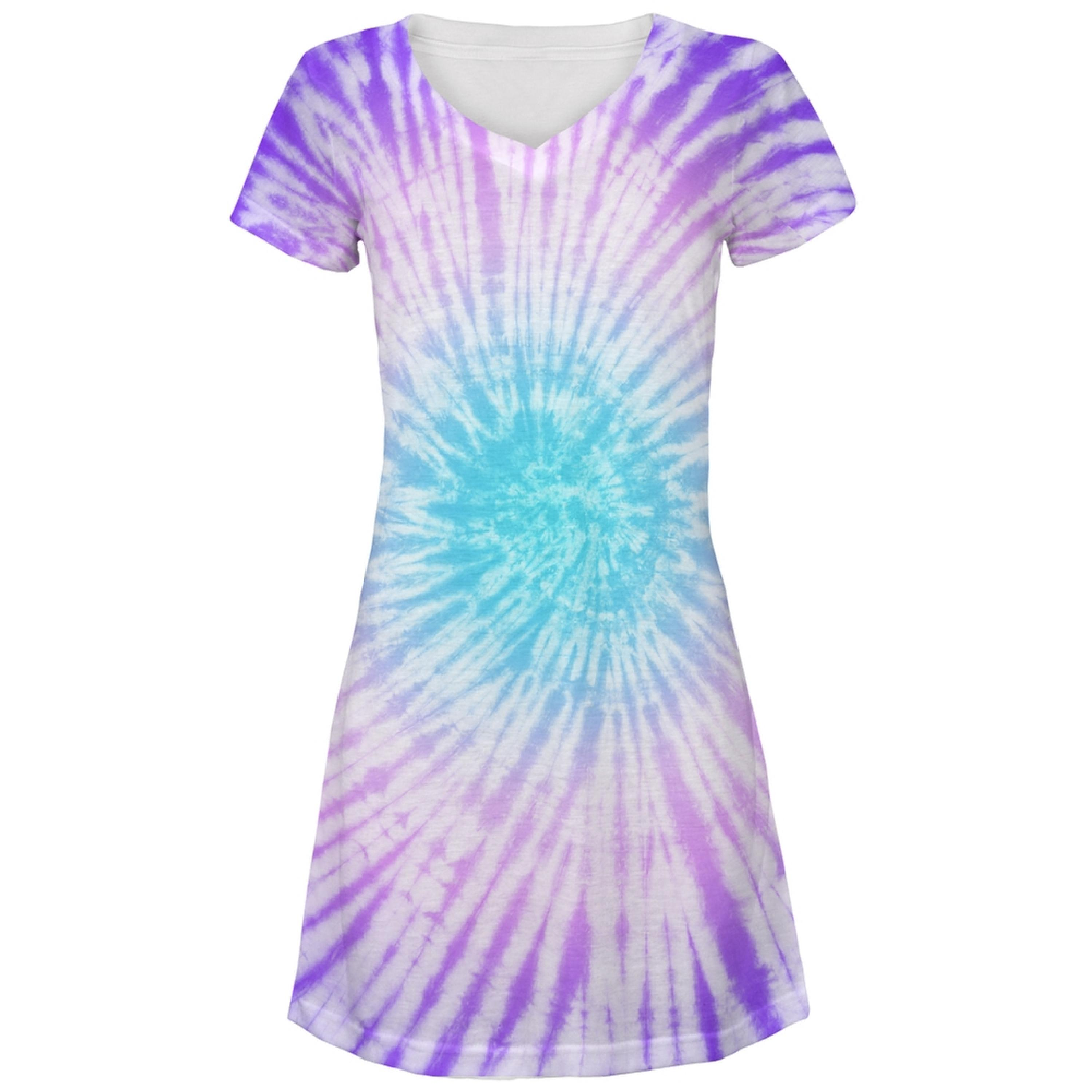Dead Head Tie Dye All Over Juniors V-Neck Dress