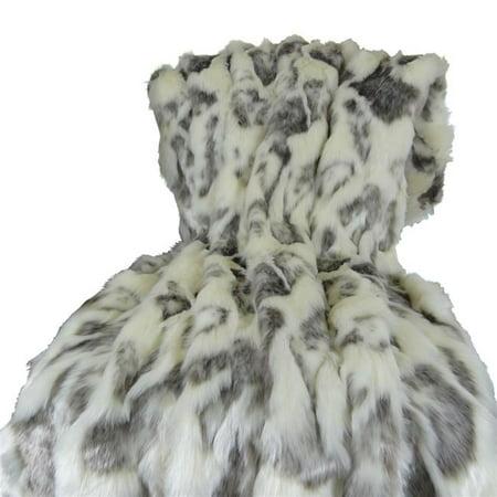 Plutus PB16428-8090-TC 80x 90 in. Full Size Rabbit Fur Handmade Throw - Ivory & Gray - image 1 de 1