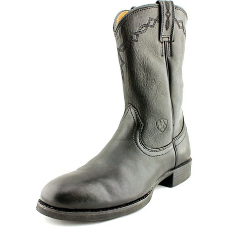 Ladies Western Black Leather Boots - Ariat Heritage Roper Women  Round Toe Leather Black Western Boot