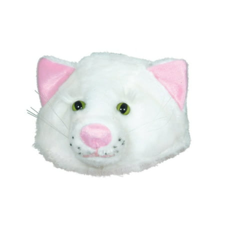 Club Pack of 12 Plush White Cat Head Halloween Costume Hat Accessories - One Size Fits Most Adults (Halloween Club City Industry)