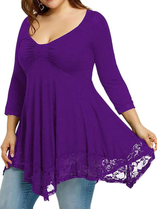 LMart Plus Size Women Long Sleeve Lace Blouse Shirt Long Tunic Tops