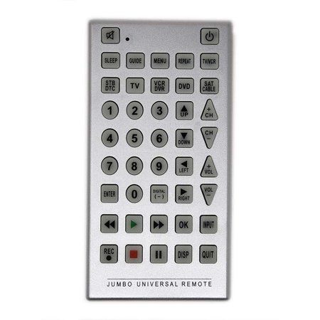 Universal Jumbo Multi-Device Remote Control Clear Soft Buttons Readable  Clear Great for Your TV, VCR, DVD, TV/DVD Combo, TV/VCR Combo, VCR/DVD  Combo,