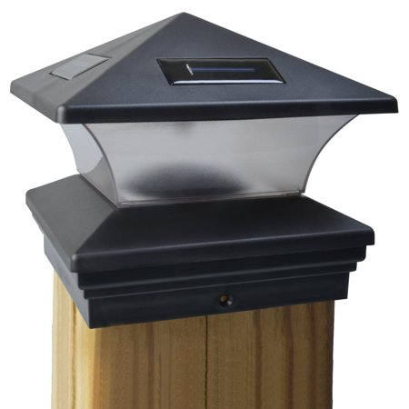 Moonrays 91268 Solar Powered LED Post Cap Light, 6-Inch by 6-Inch Post, Black Finish (Led Cup Light)