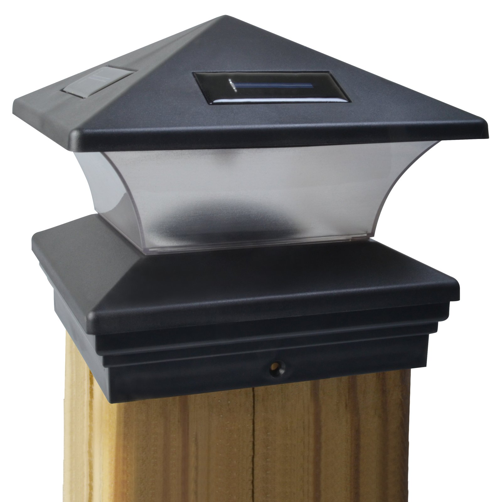 Moonrays 91268 Solar Powered LED Post Cap Light, 6-Inch by 6-Inch Post, Black Finish