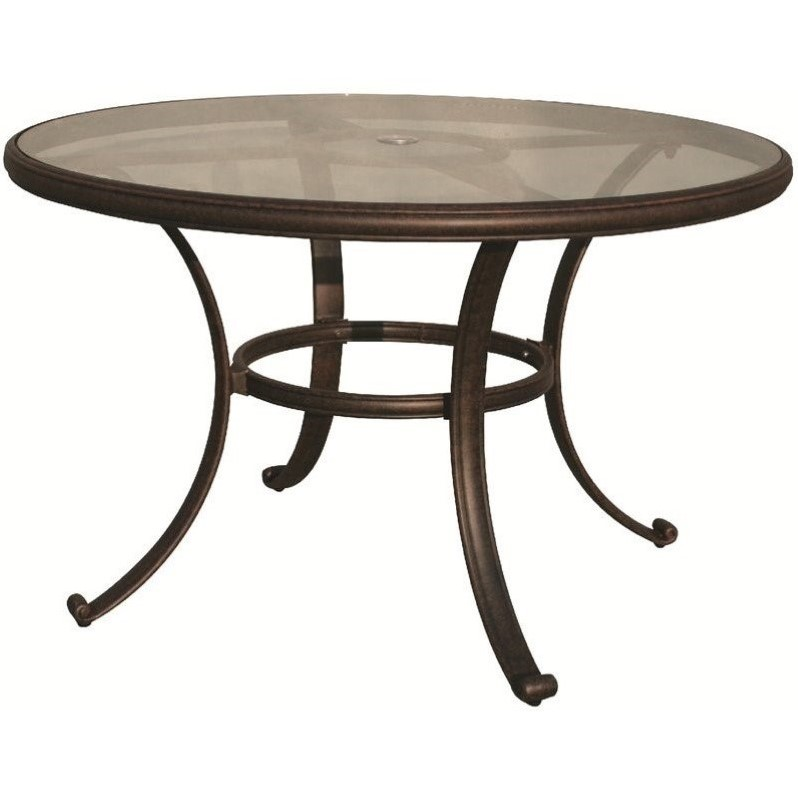 "Darlee 48"" Patio Round Dining Table with Glass Top in Antique Bronze"