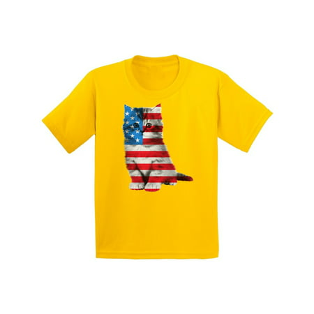 Awkward Styles Youth USA Flag Cat Graphic Youth Kids T-shirt Tops Cute 4th of July Gift American Flag - Black Red And Yellow Flag