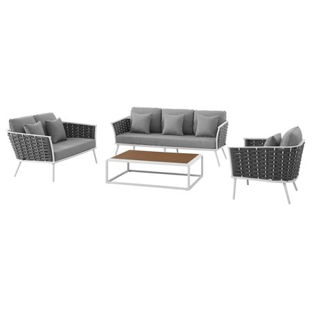 Modern Contemporary Urban Outdoor Patio Balcony Garden Furniture Lounge Chair, Sofa and Table Set, Fabric Aluminium, White Grey Gray