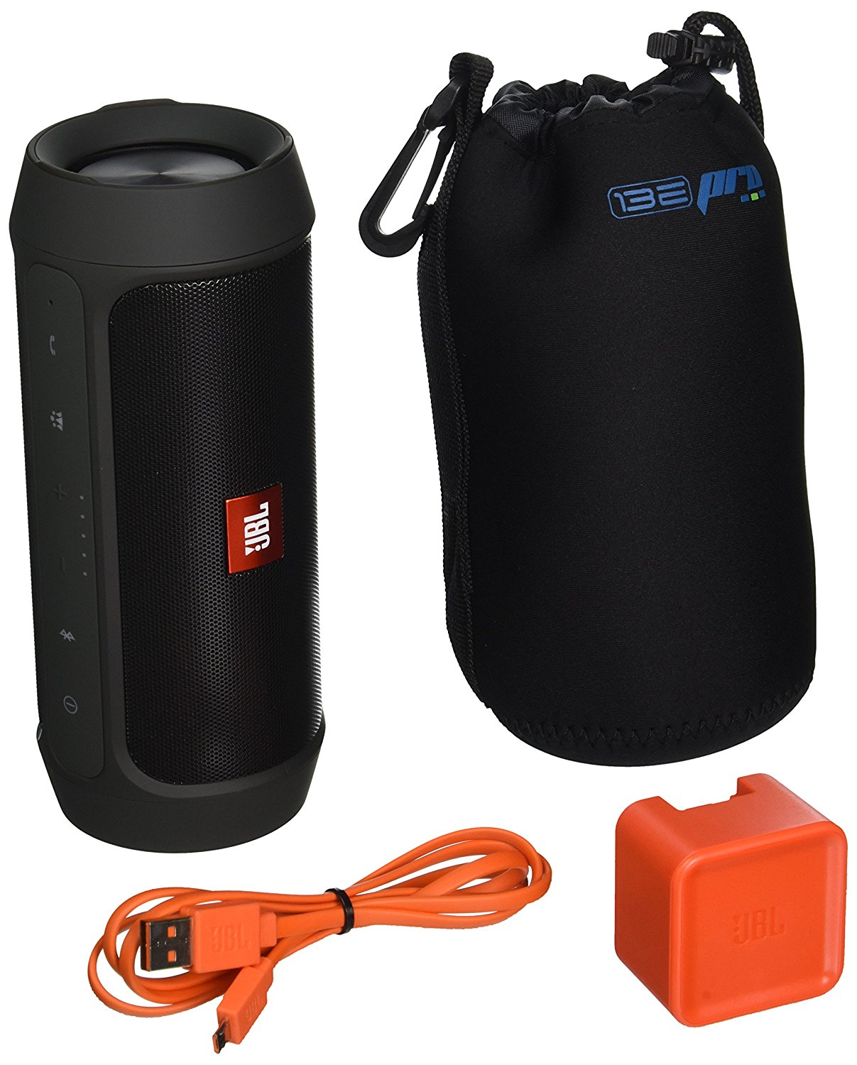 JBL Charge 2 Plus Splashproof Portable Bluetooth Speaker (Black) + I3ePro Water Resistant Carry Pouch by JBL