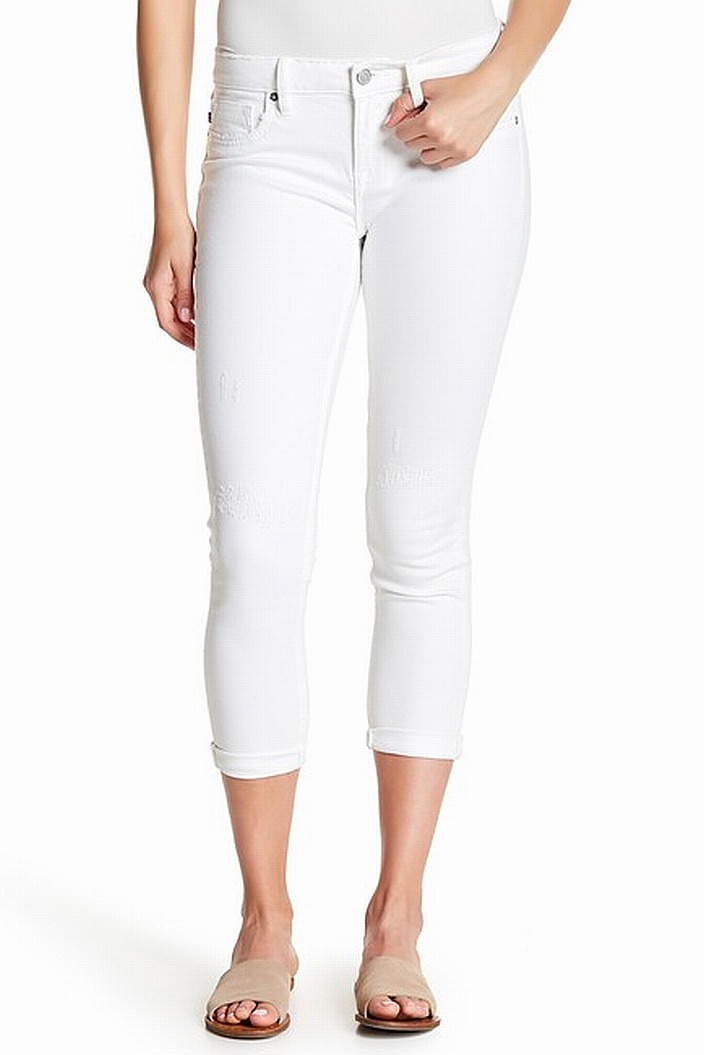 Vigoss Womens Distressed Cuffed Cropped Skinny Jeans