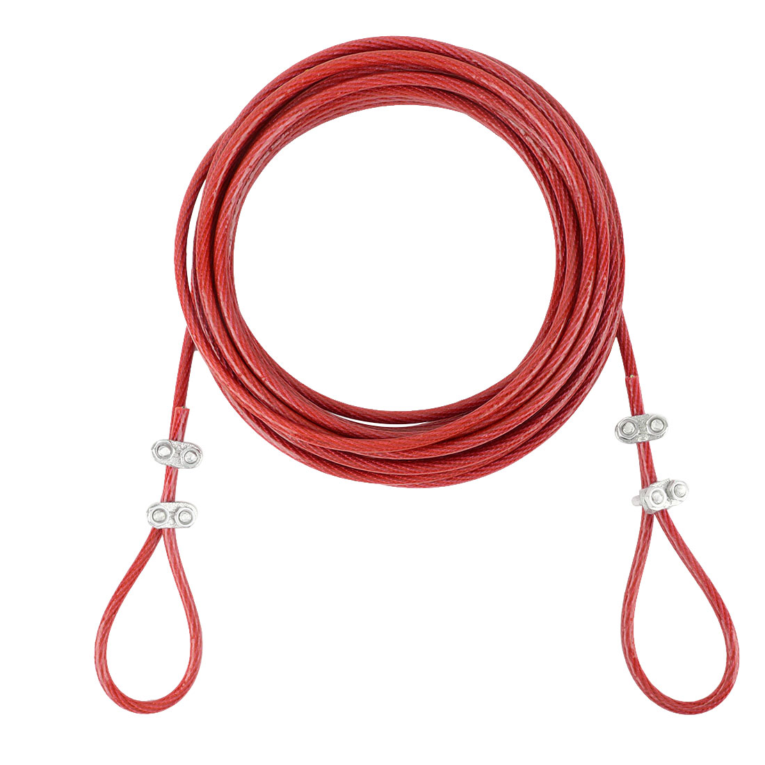 Steel Cored Clothesline Hold up Heavy Weight Nylon Wrapped Red 8 Meters Length